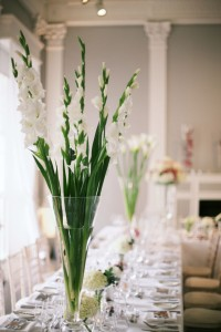 Gladioli vase ICA Carlton House Terrace wedding London