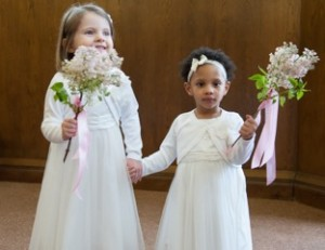 Flower girls with lilac wands