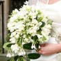 trailing white bouquet with freesia